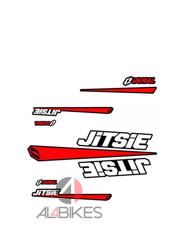 KIT DE ADHESIVOS JITSIE VARIAL ROJO NEGRO - Kit de pegatinas con el mismo diseño que el kit gráfico original en la bicicleta rojas y negras