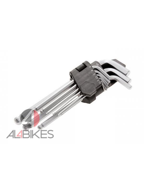 KIT DE LLAVES ALLEN JITSIE - Kit de llaves allen con punta de bola en el extremo largo y una punta convencional en el extremo corto