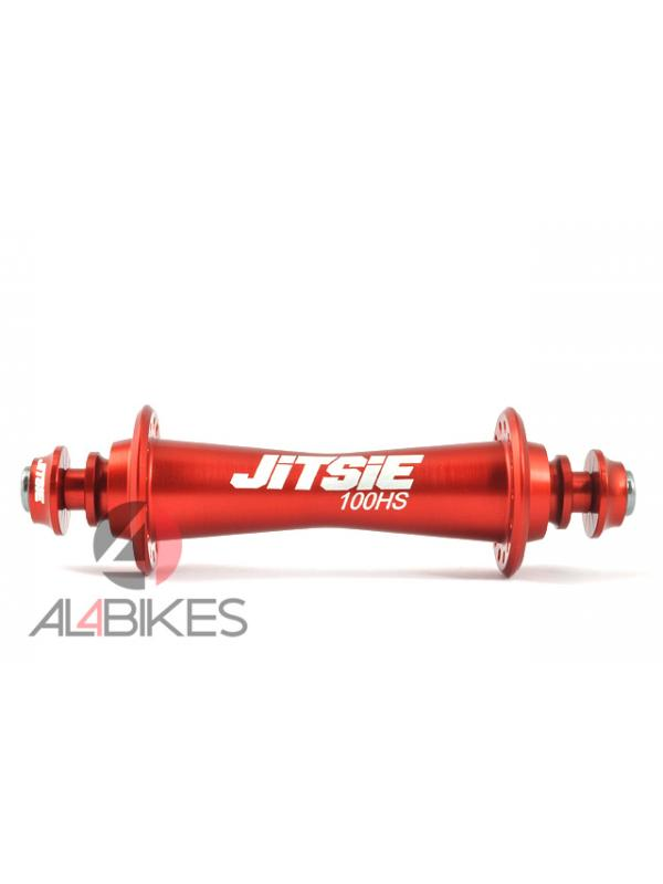 BUJE DELANTERO ULTRALIGERO JITSIE RACE HS100 28A ROJO - Buje delantero ultraligero Jitsie Race Hs100 para 28 radios