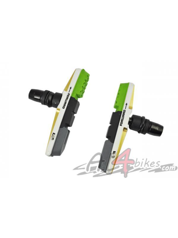 PASTILLAS V-BRAKE XLC CNC VERDES - Pastillas V-Brake XLC CNC