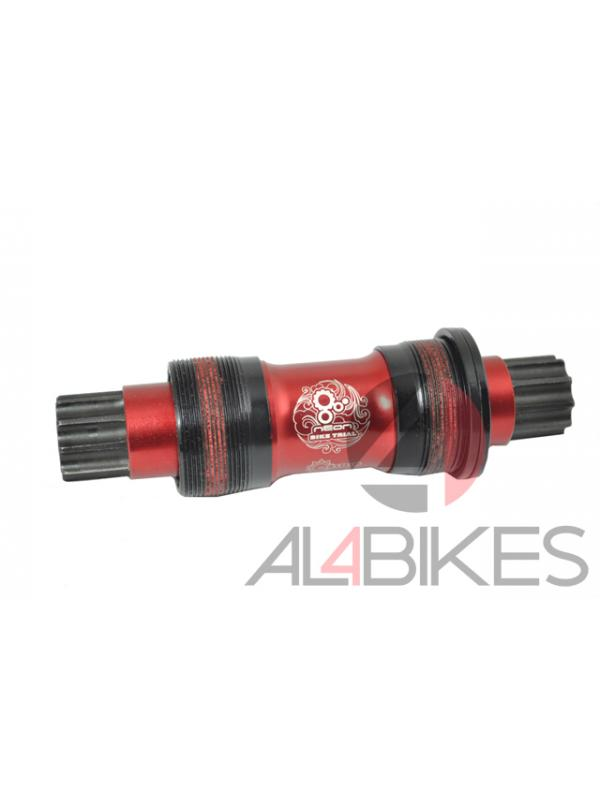 EJE PEDALIER NEON TIPO ISIS 128mm ROJO - Eje pedalier tipo ISIS 128mm