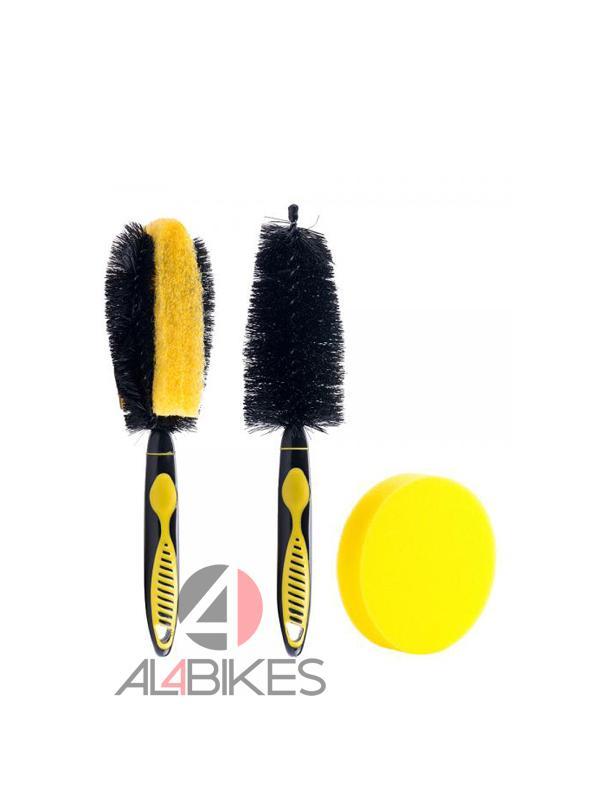 KIT DE LIMPIEZA JITSIE - Kit de cepillos y esponja para limpiar la bicicleta