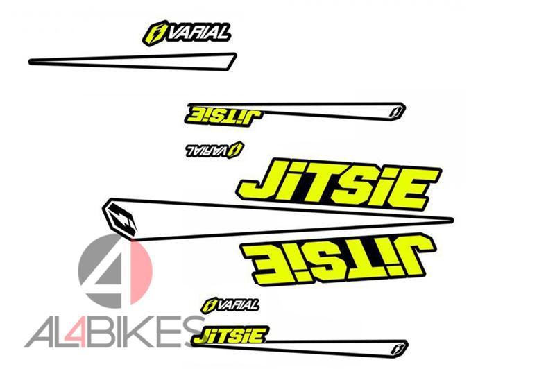 KIT DE ADHESIVOS JITSIE VARIAL AMARILLO FLUO - Kit de pegatinas con el mismo diseño que el kit gráfico original en la bicicleta en acabado amarillo fluo.